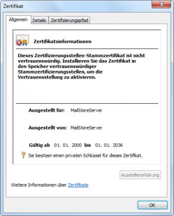Verteilung eines selbstsignierten SSL-Zertifikats – MailStore Server ...