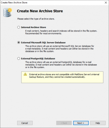 Using External Archive Stores - MailStore Server Help