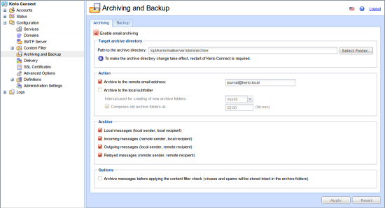 Archiving Emails from Kerio Connect - MailStore Server Help